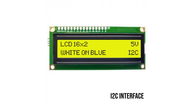 LCD 16X2 Character Display, Black on Yellow, I2C Interface, 5V