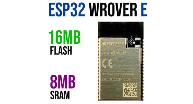 ESP32-WROVER-E Module, 16MB Flash (Original Espressif)