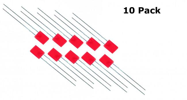 Rectangular LED Red 2 X 5 X 7MM (10 Pack)
