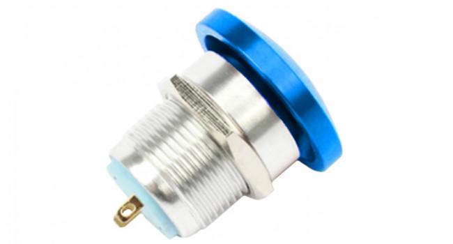Blue Aluminium Push to Make 16mm