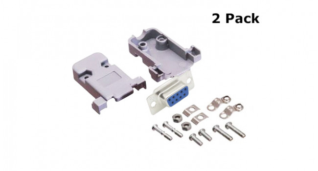 DB9 Female Connector + Shell (2 Pack)