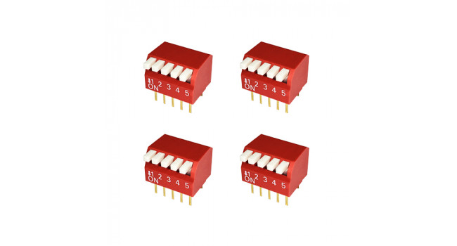 Dip Switch 5 Pole - Piano (4 Pack)
