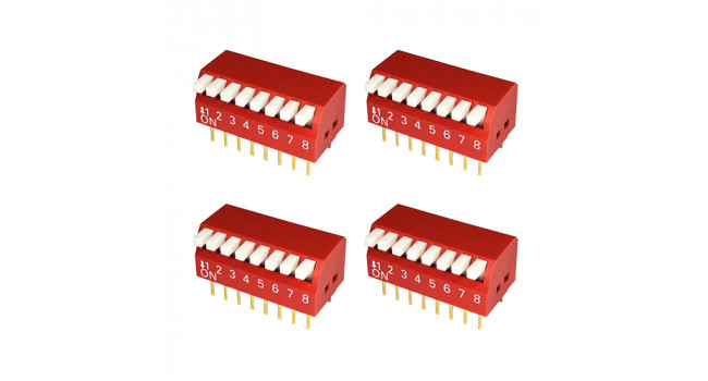 Dip Switch 8 Pole - Piano (4 Pack)