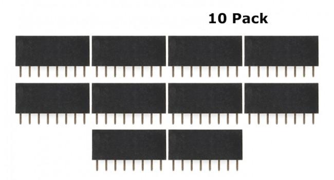 Header Female 8 Pin 2.54mm (10 Pack)