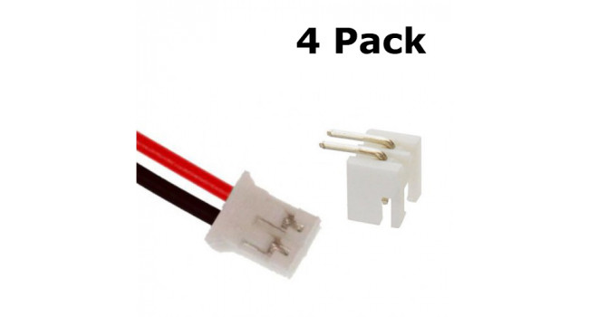JST-PH 2 Pin Connector + 20cm Cable (4 Pack)