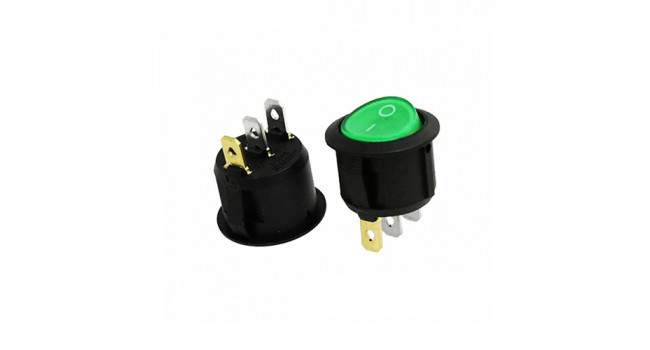 Switch + Green Light 250V @ 6A (2 Pack)