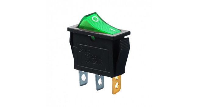 Rocker Switch 240V 15A - Green