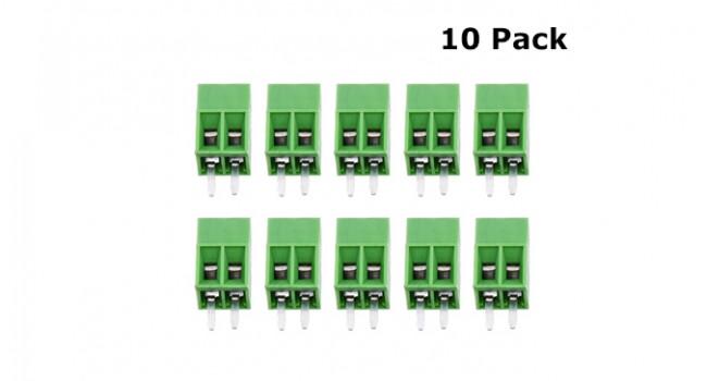 Screw Terminal Block 2 Pin - 2.54mm (10 Pack)