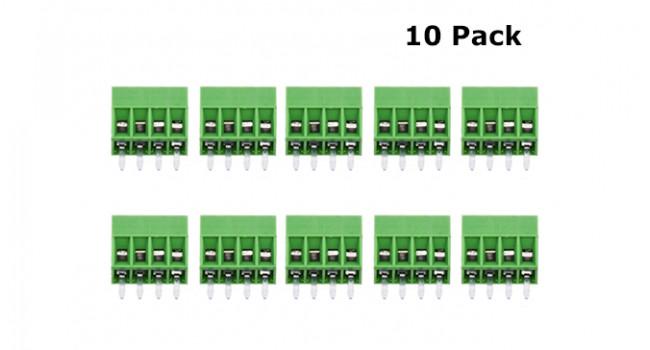 Screw Terminal Block 4 Pin - 2.54mm (10 Pack)
