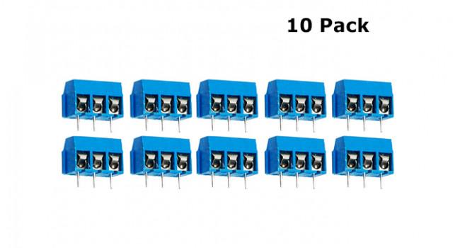 Screw Terminal Block 3 Pin - 5mm (10 Pack)