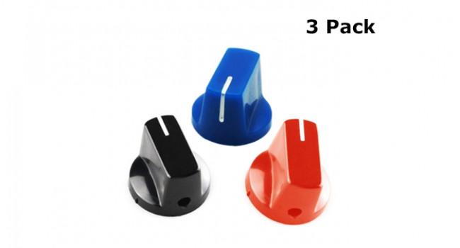 Knob 19mm Diameter - Red, Blue, Black (3 Pack)