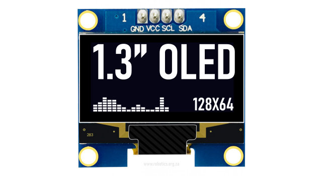 OLED 1.3 inch I2C Display - White on Black