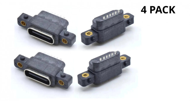 Panel Mount, USB C Connector, Slimline (4 Pack)