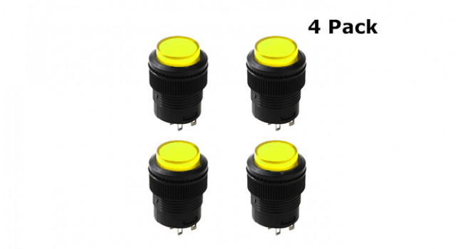 Switch + Lamp Latch 250V 3A Yellow (4 Pack)