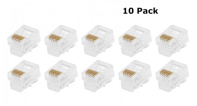 RJ11 6 Pin Crimp Connector (10 Pack)
