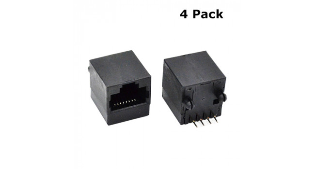 RJ45 Connector Black - PCB (4 Pack)