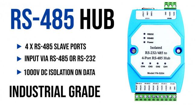 RS485 4 Way HUB Repeater - Adam Format