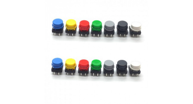 Switch, Tactile Round Button - 7 Colours (14 Pack)