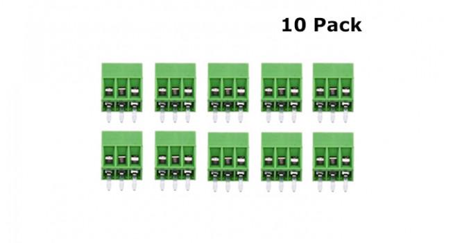 Screw Terminal Block 3 Pin - 2.54mm (10 Pack)