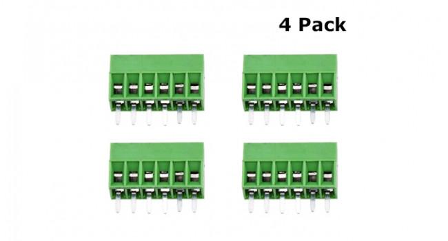 Screw Terminal Block 6 Pin - 2.54mm (4 Pack)