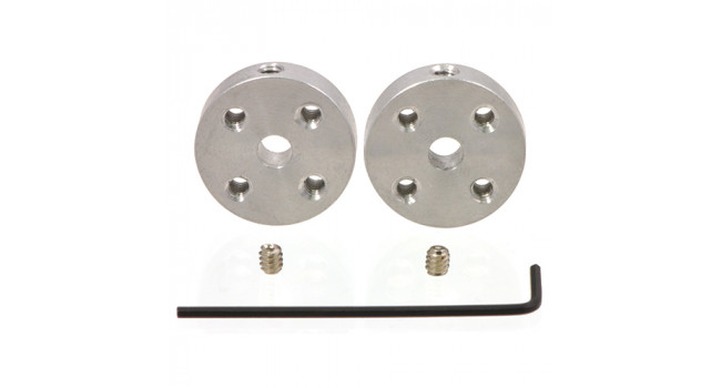 Universal Aluminum Mounting Hub for 4mm Shaft, M3 Holes (2-Pack)