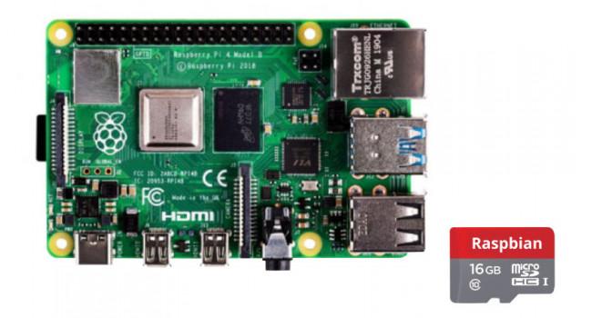 Raspberry Pi 4GB + 16GB Micro SD - Raspbian