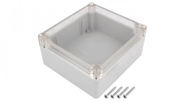 ABS IP65 Case 115x125x58 Grey - Clear Lid