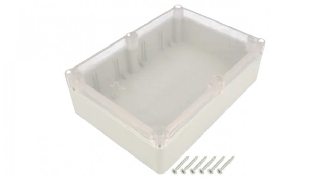 ABS IP65 Case 126x176x57 Grey - Clear Lid