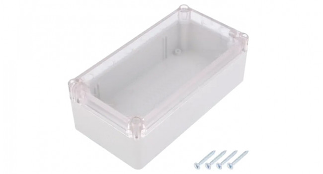 ABS IP65 Case 82x158x58 Grey - Clear Lid