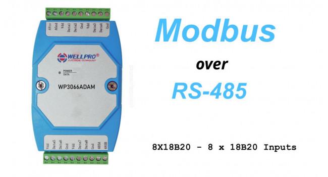 WELLPRO RS-485 MODBUS RTU, 8 X DS18B20 Temperature Inputs