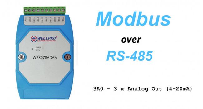 WELLPRO RS-485 MODBUS RTU, 3 X Analogue Out 4-20mA