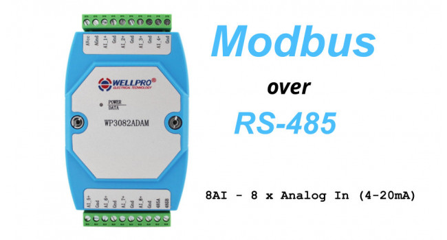 WELLPRO RS-485 MODBUS RTU, 8 x Analog In (4-20mA)
