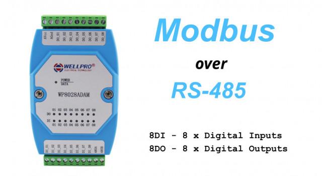 WELLPRO RS-485 MODBUS RTU, 8 x Digital Inputs, 8 x Digital Outputs