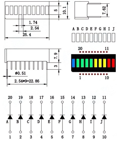 led bargraph 10 segment - multicolor