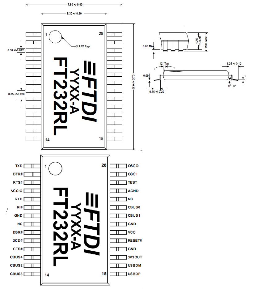 ftdi ft232rl usb to serial chip - smd