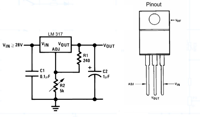voltage regulator lm317t  adjustable